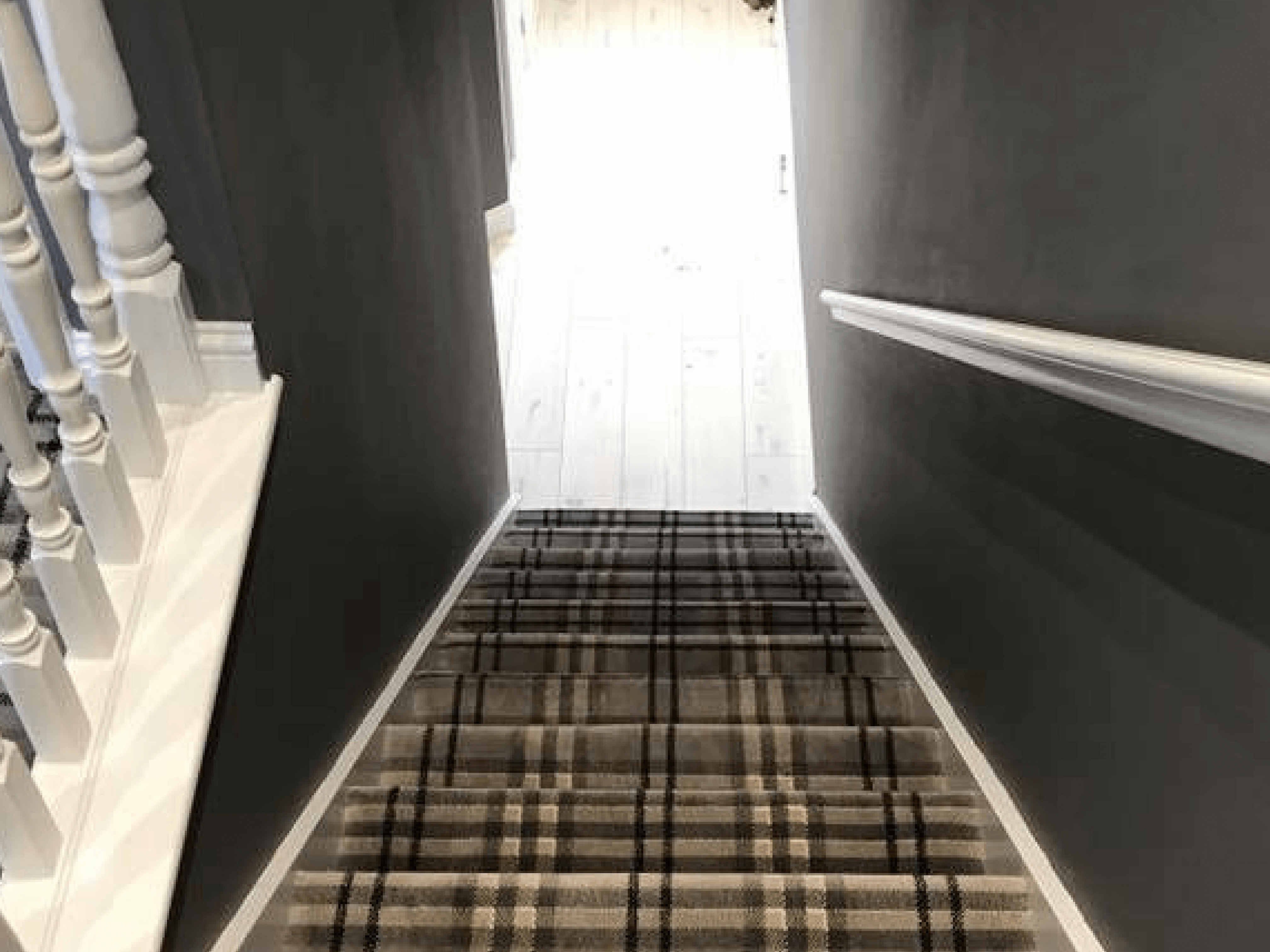 tartan stair with grey riser